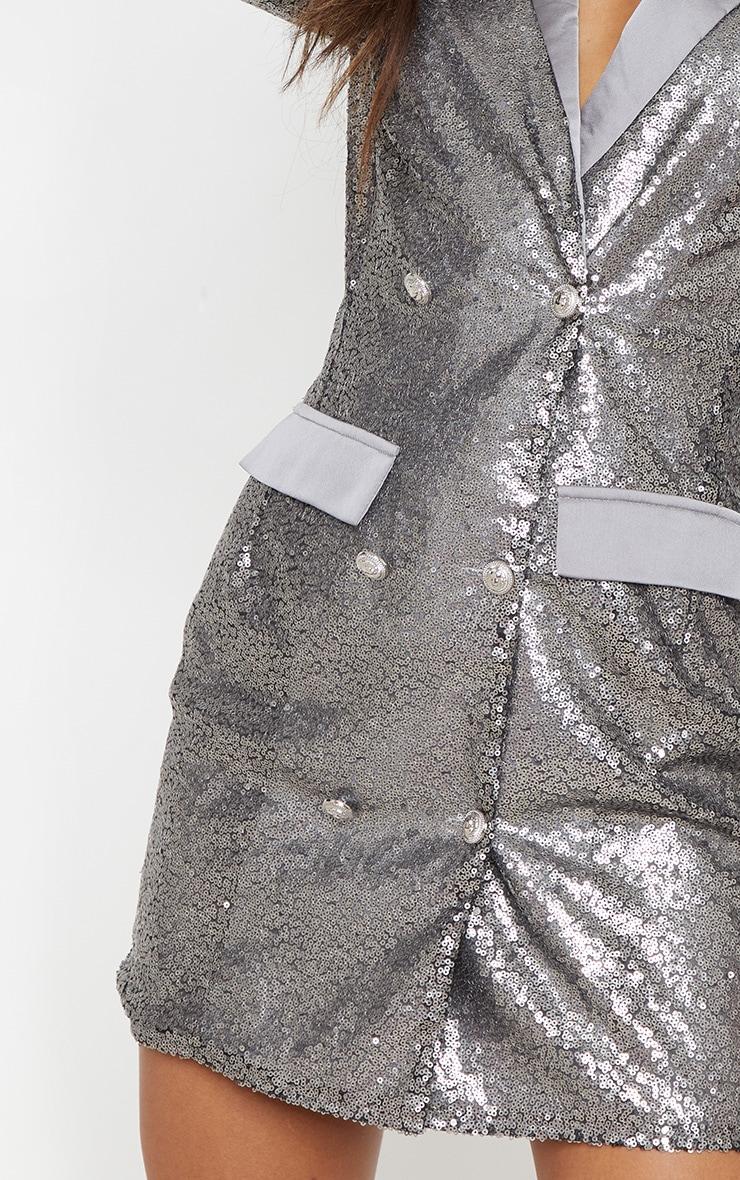 Pewter Sequin Button Detail Blazer Dress 5