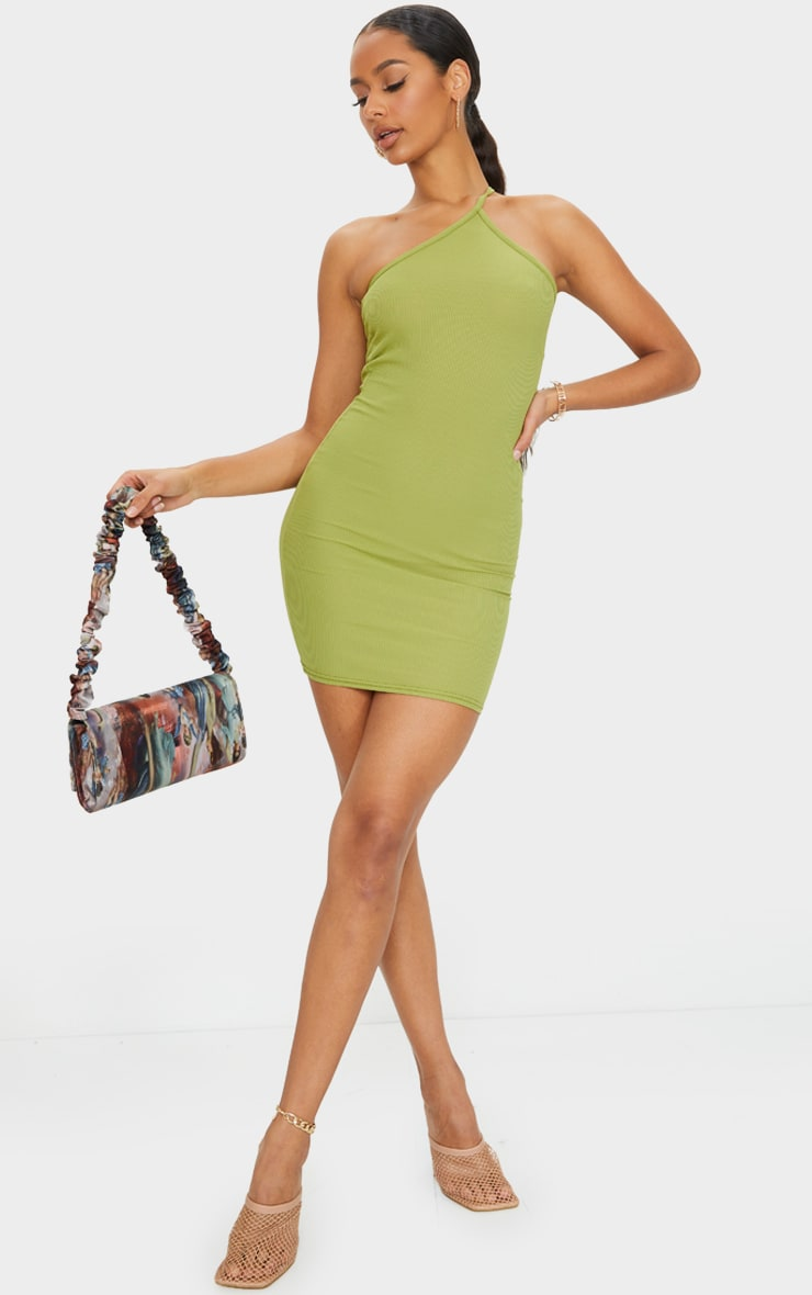 Olive Ribbed One Shoulder Neck Detail Bodycon Dress 3