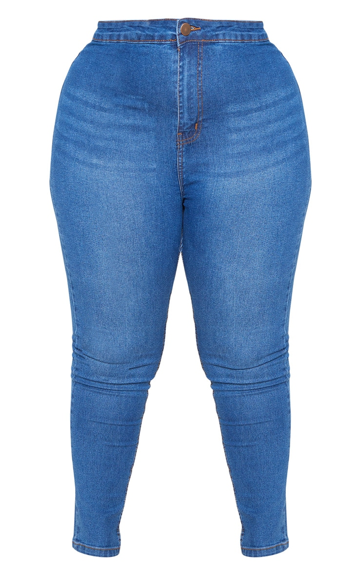 Plus Mid Wash High Waisted Super Stretch Skinny Jean 3