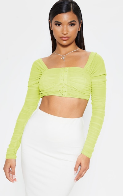2b8f05cd7798d0 Lime Ruched Lace Up Detail Mesh Crop Top