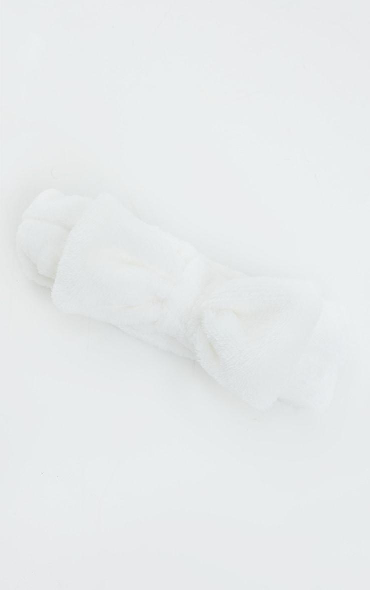 Fluffy Bow Makeup Headband White 2