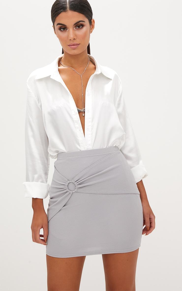 Grey Ring Wrap Mini Skirt  1
