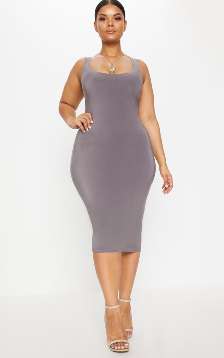 Plus Charcoal Grey Second Skin Slinky Scoop Neck Midi Dress 1