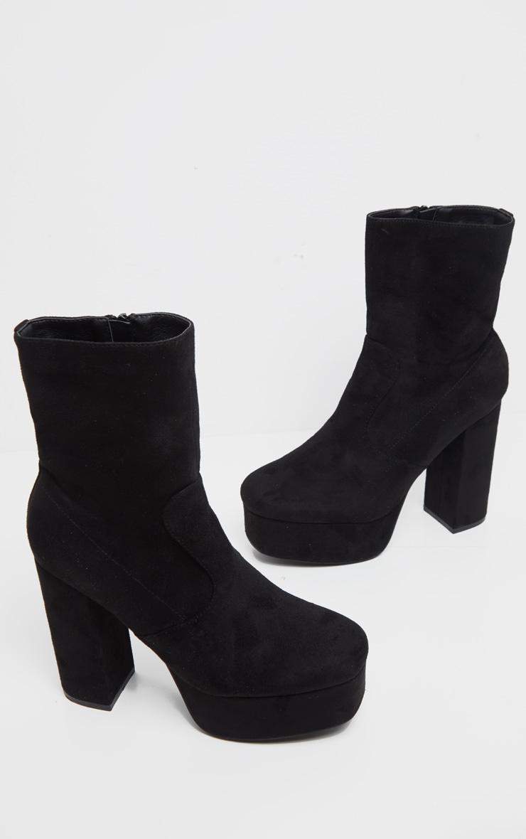 Black Faux Suede High Double Platform Ankle Boots 4