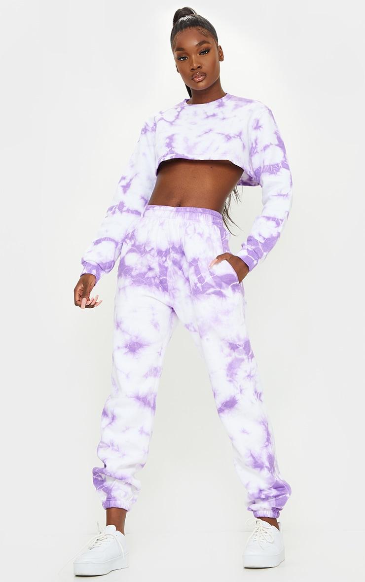 Tall Lilac Tie Dye High Waist Joggers 1