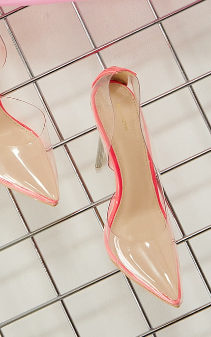 Pink High Clear Cut Out Side Court Heels 4