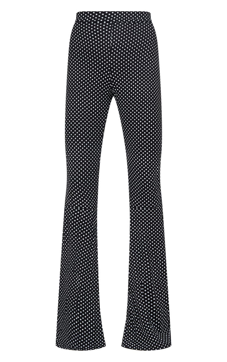 Black Polka Dot Flared Leg Trousers 3