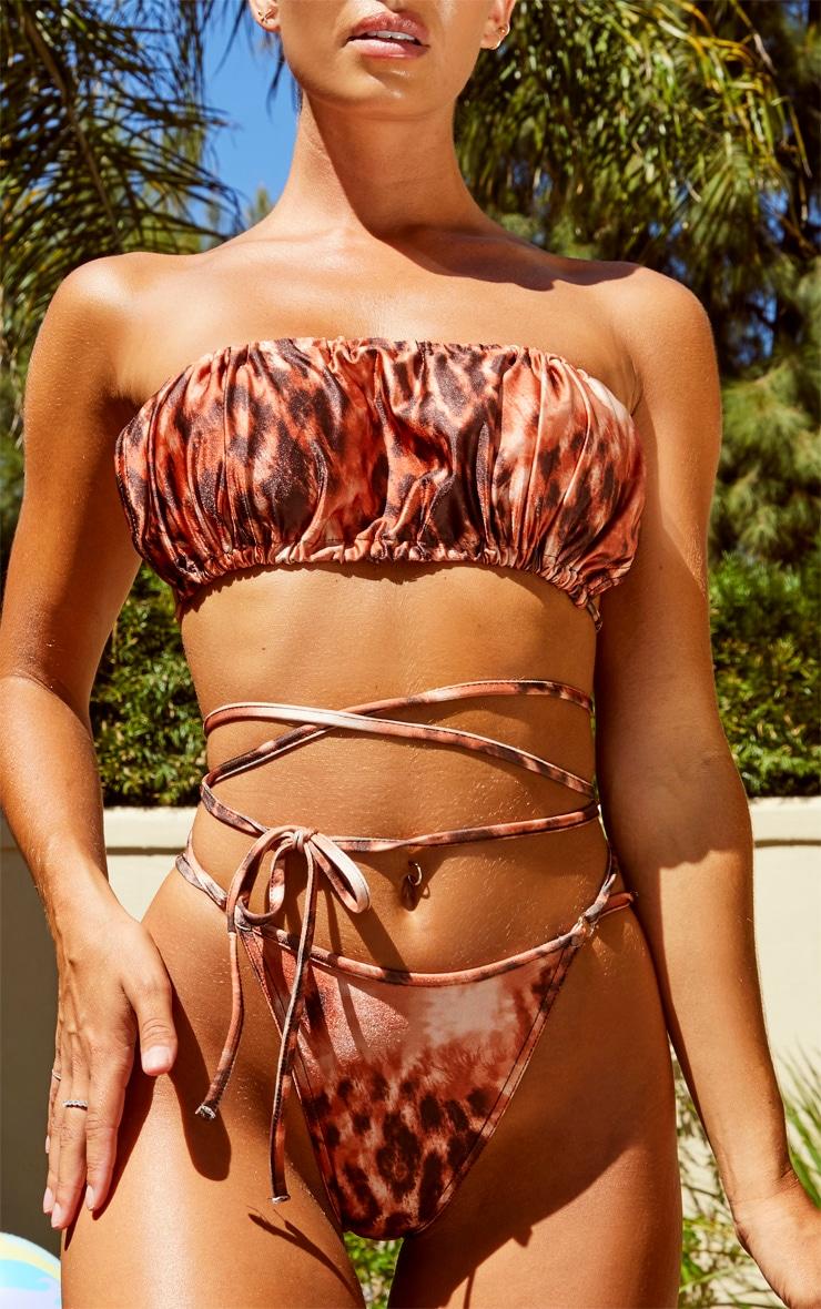 Rust Leopard Tie Wrap Strappy Bikini Bottoms 5