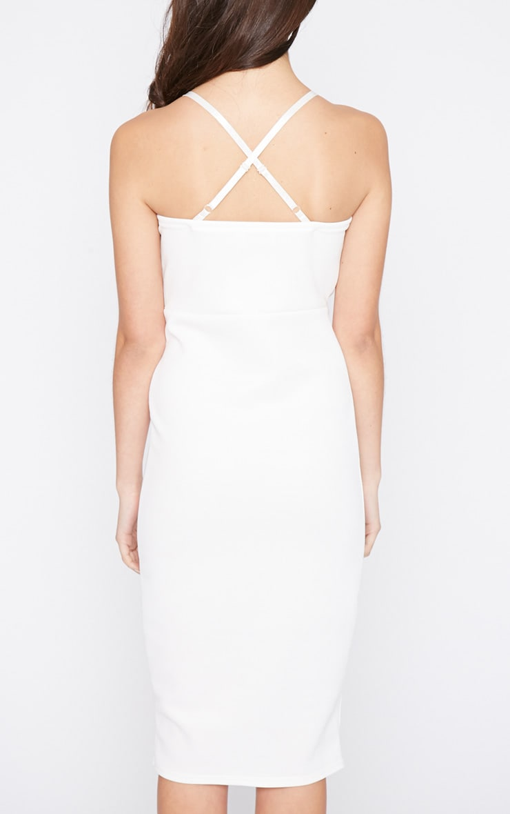 Britt White Cross Back Plunge Midi Dress 2