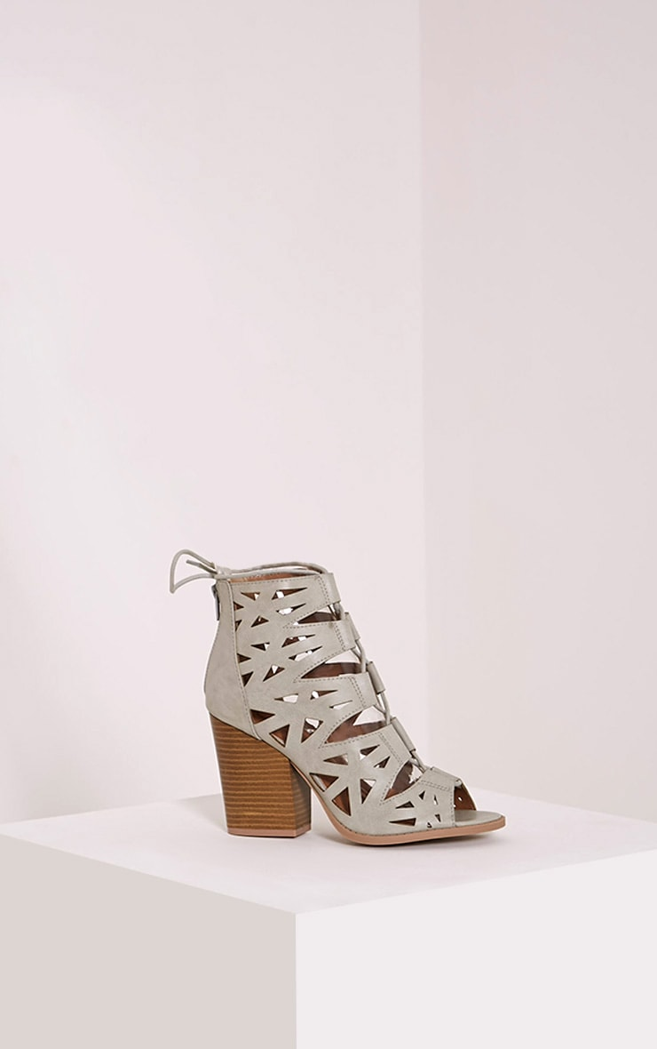 Keeley Grey Cut Out Lace Up Heeled Sandals 3