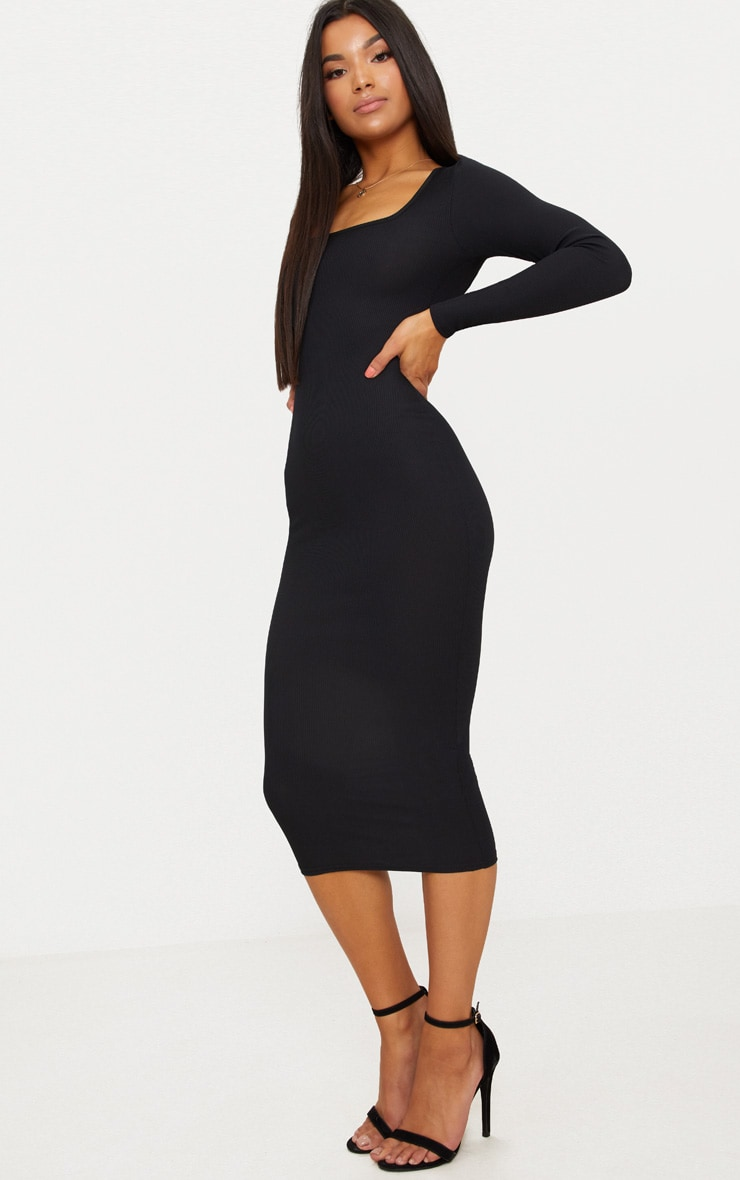 Black Ribbed Long Sleeve Midaxi Dress 4