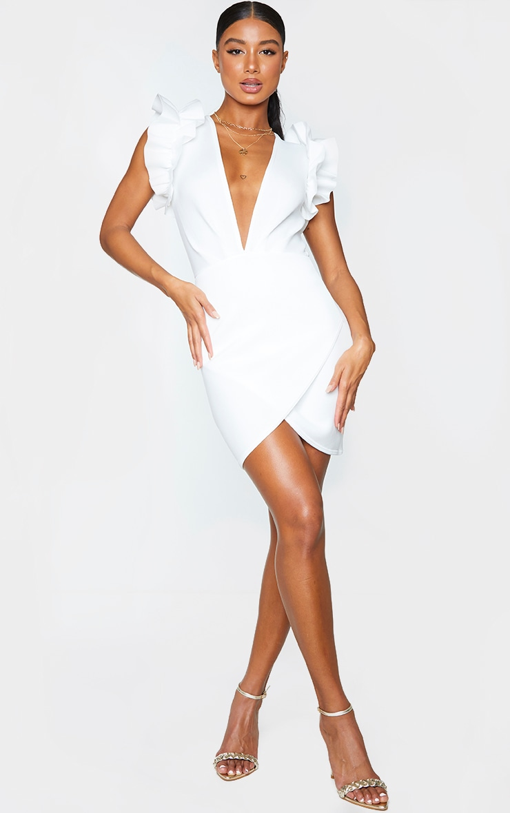 White Scuba Frill Sleeve Plunge Bodycon Dress 1