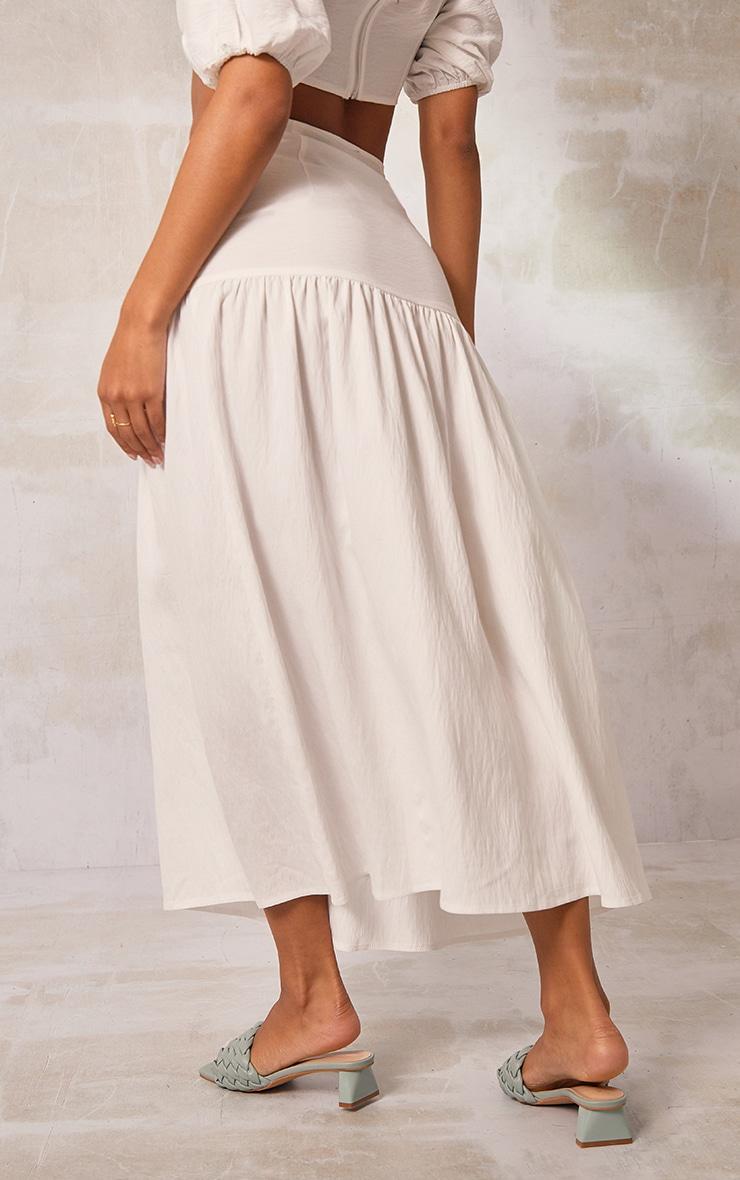 White Woven Tiered Panel Midi Skirt 3