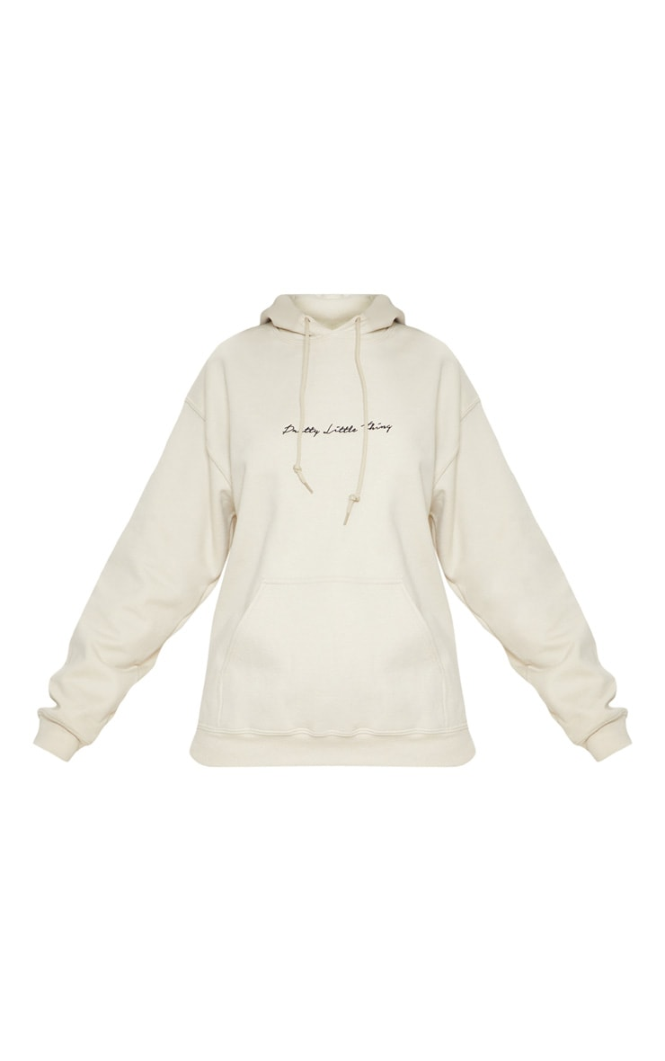 PRETTYLITTLETHING Sand Embroidered Oversized Hoodie  3