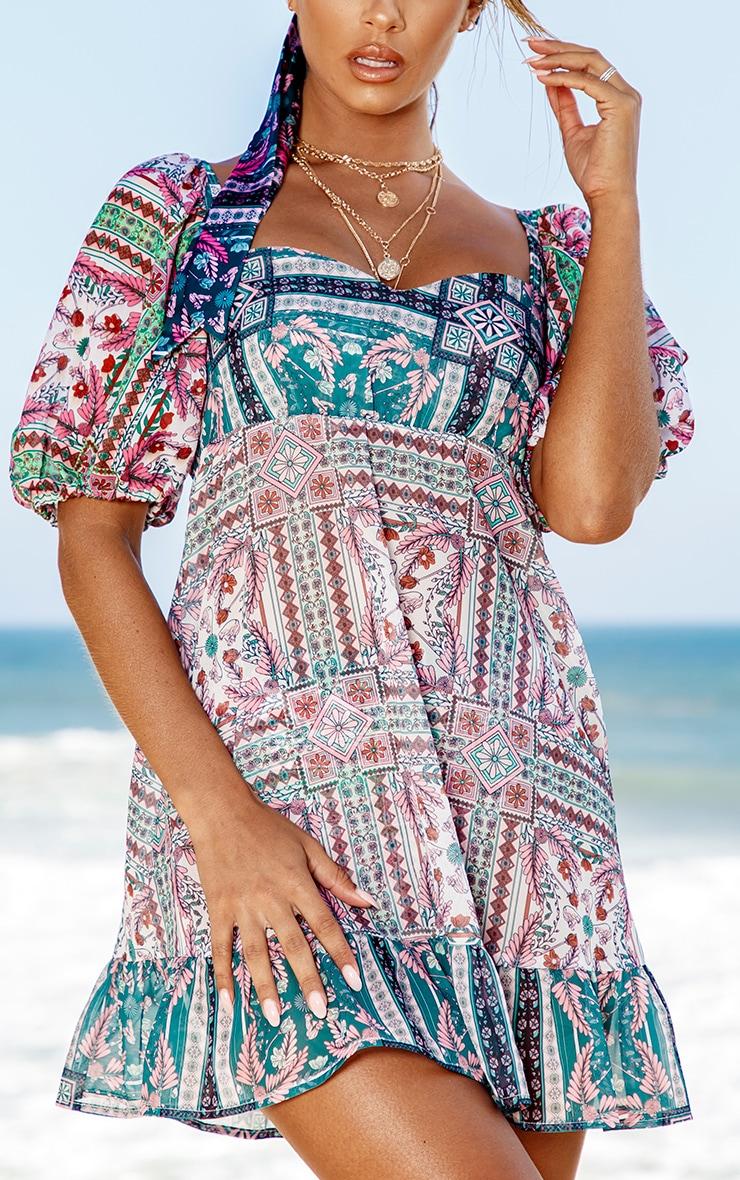Green Mosaic Chiffon Frill Hem Beach Dress 5