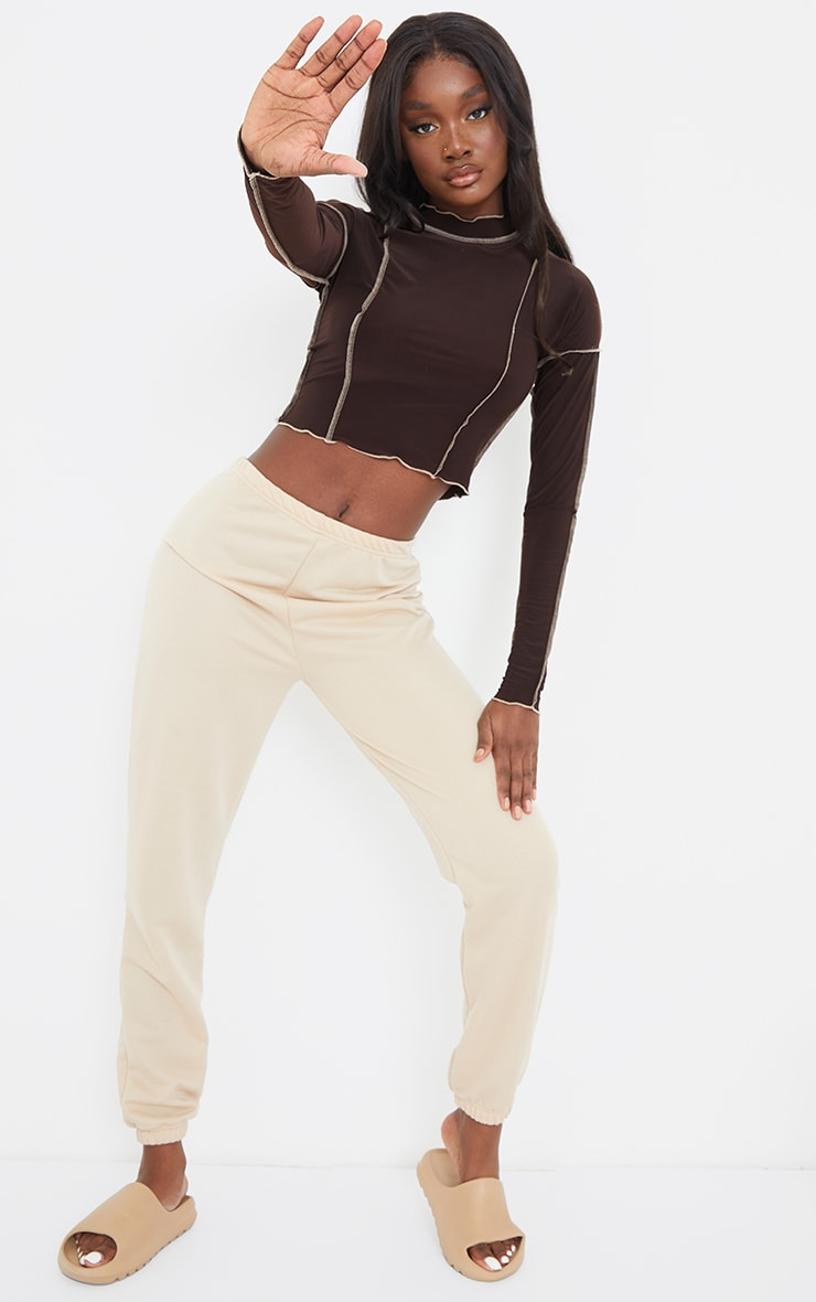Tall Chocolate Contrast Seam Detail Soft Touch Crop Top 3