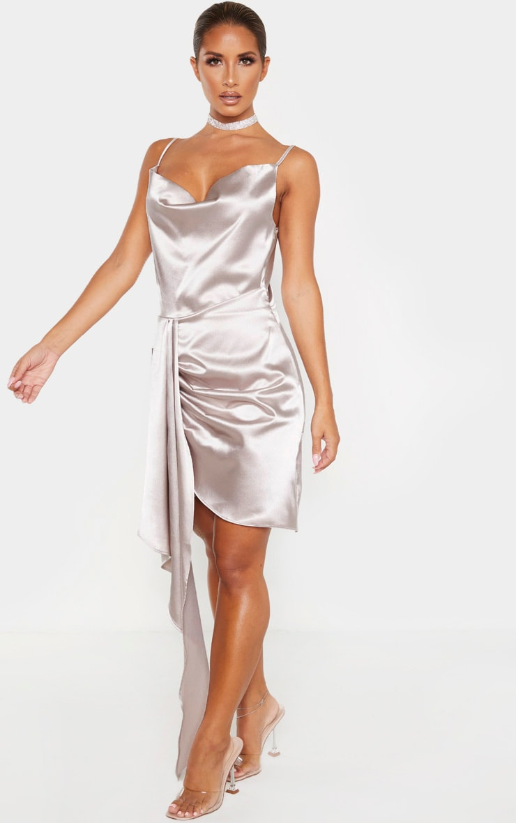 Ecru Satin Cowl Drape Bodycon Dress 4
