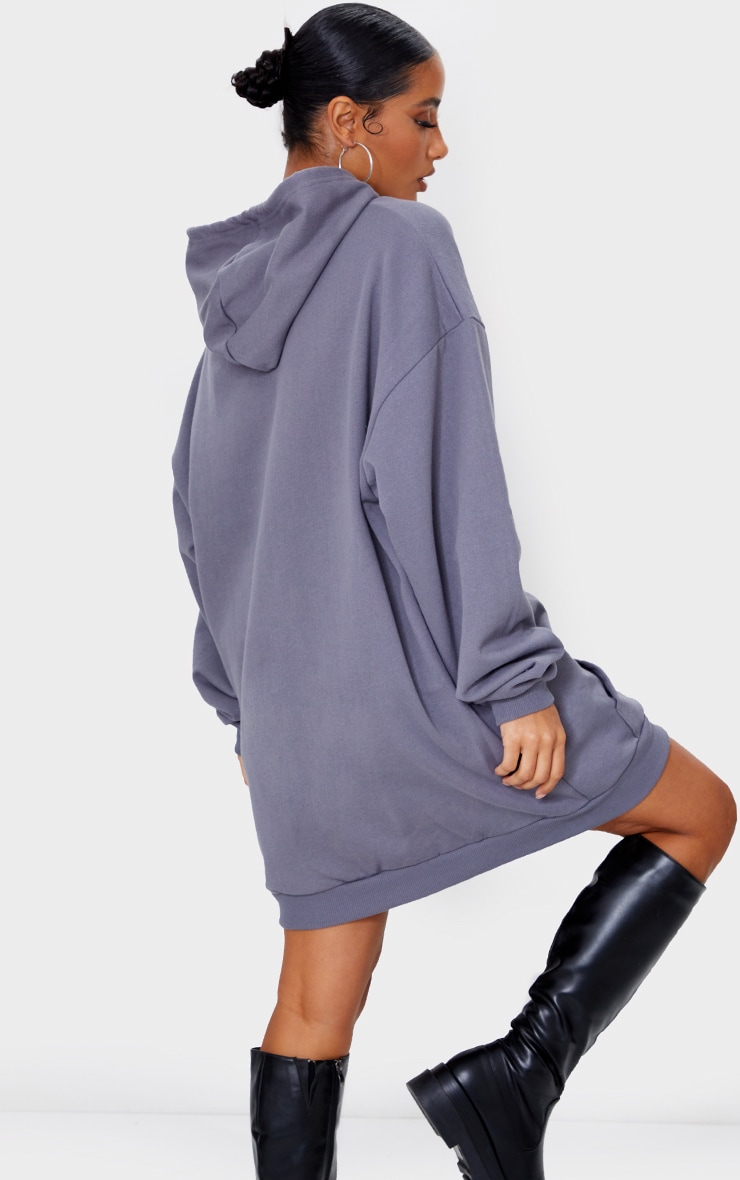 PRETTYLITTLETHING Charcoal Rubber Badge Oversized Sweater Dress 2