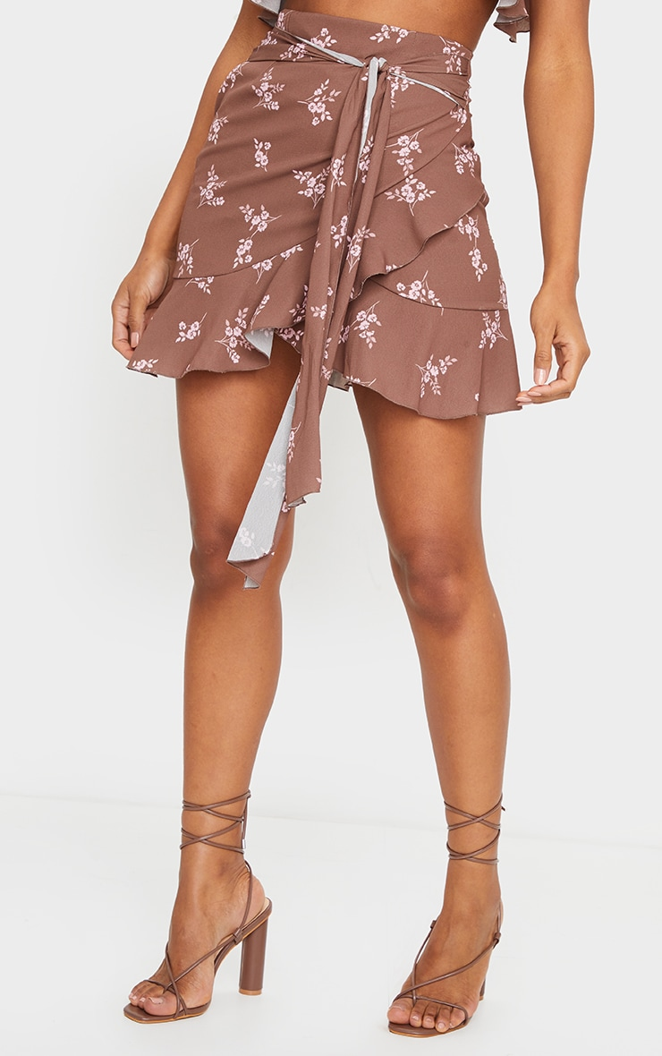 Brown Floral Print Tie Detail Frill Edge Wrap Mini Skirt 2