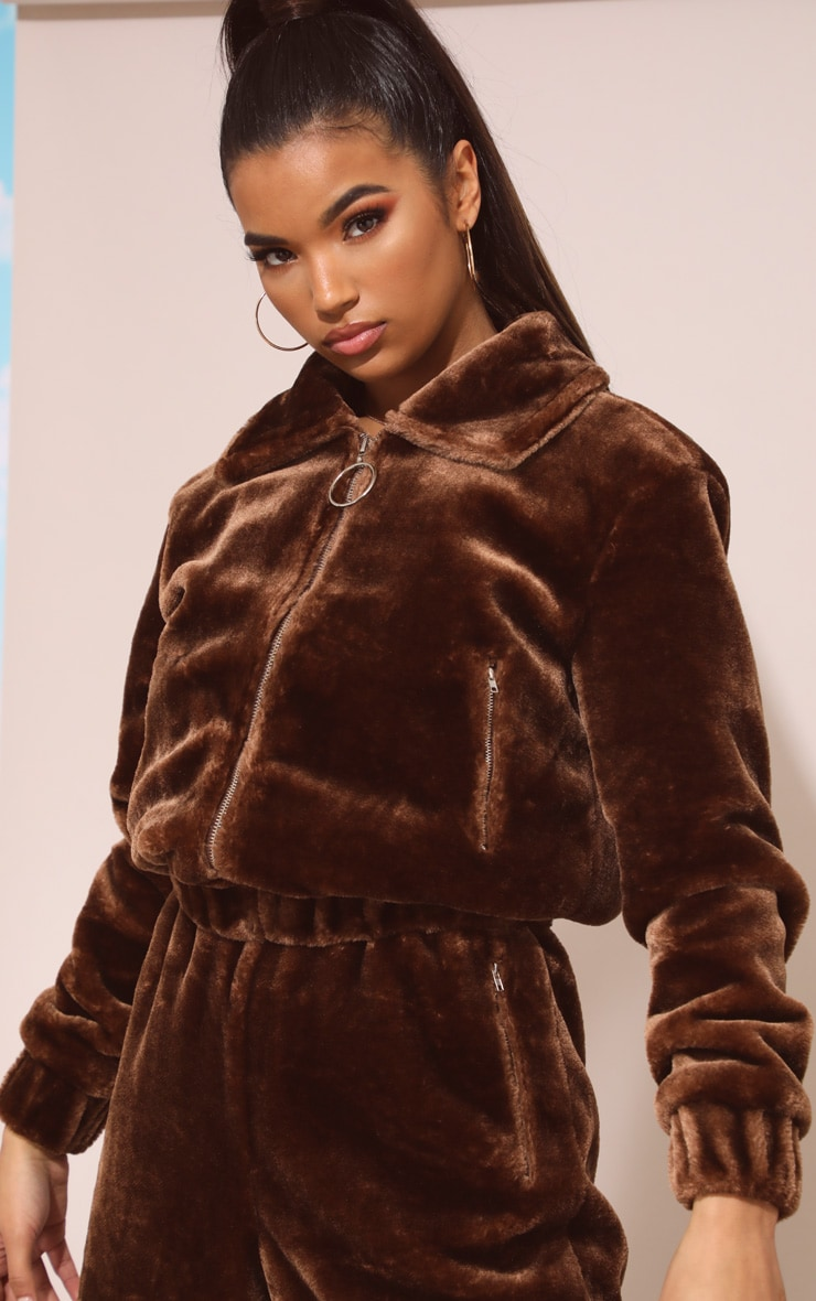 Chocolate Brown Faux Fur Zip Detail Jacket 1
