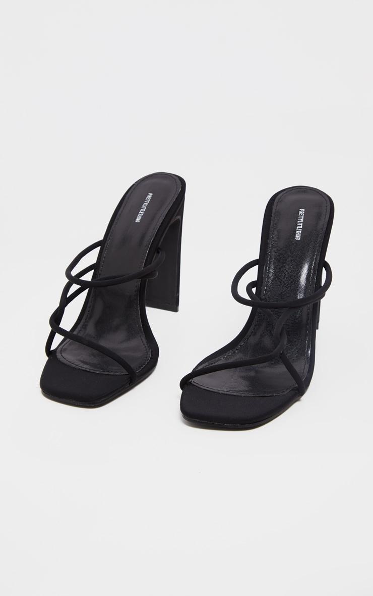 Black Flat Heel Tube Strappy Mule Sandal 3