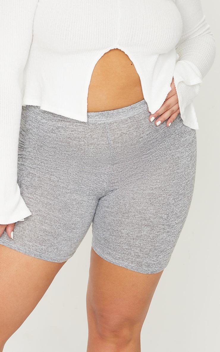 lus Grey Brushed Marl Bike Shorts 5