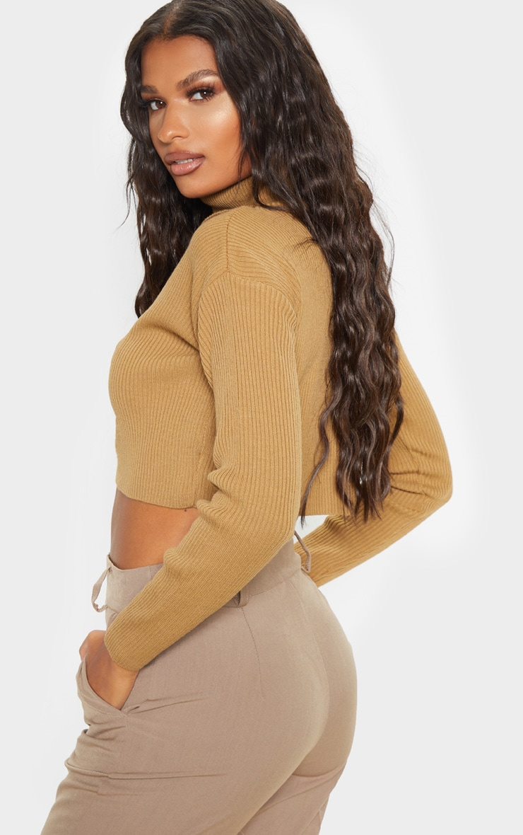 Camel Knitted Rib Cropped Roll Neck Jumper 2