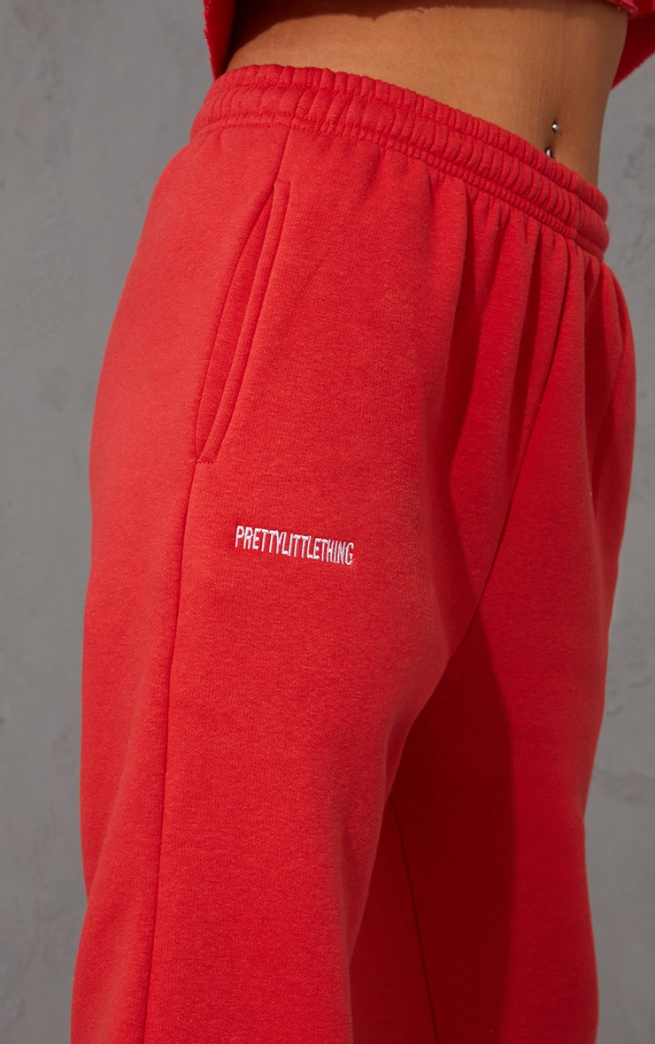 PRETTYLITTLETHING Red Block Embroidered Joggers 4