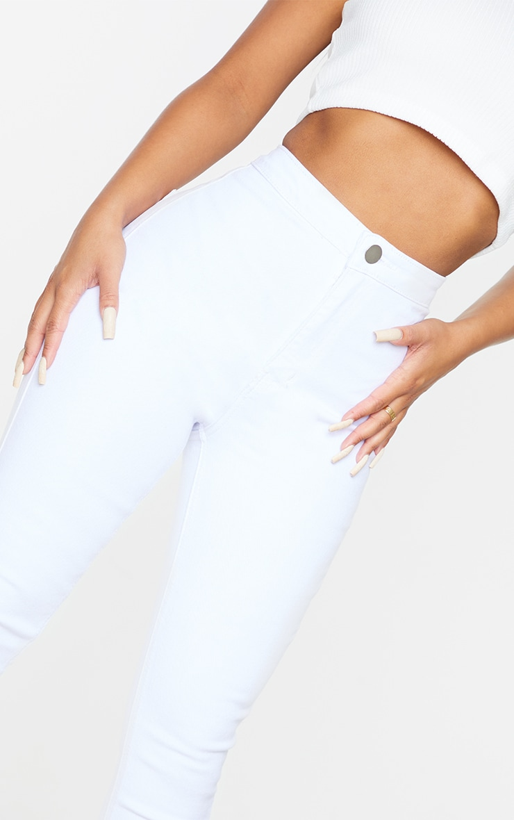 Petite White High Rise Skinny Jeans  4