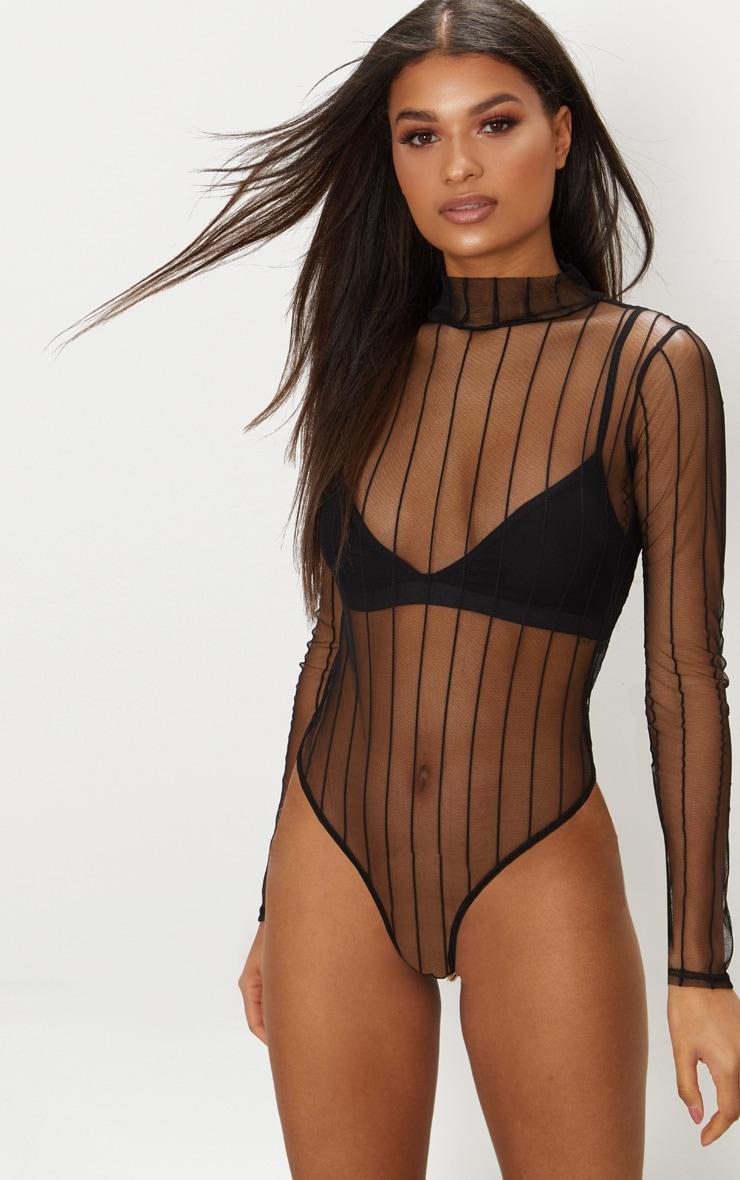 Black Mesh High Neck Stripe Thong Bodysuit 2