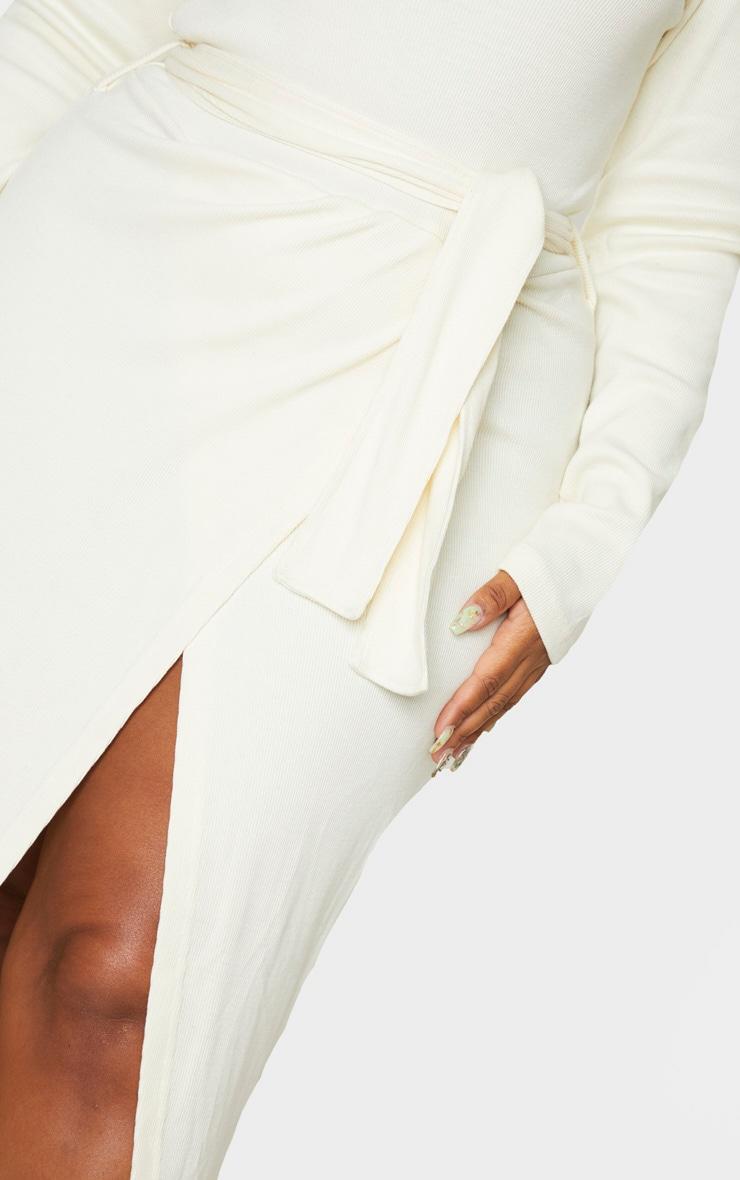 Plus Cream Thick Rib Tie Waist Wrap Midi Dress 5