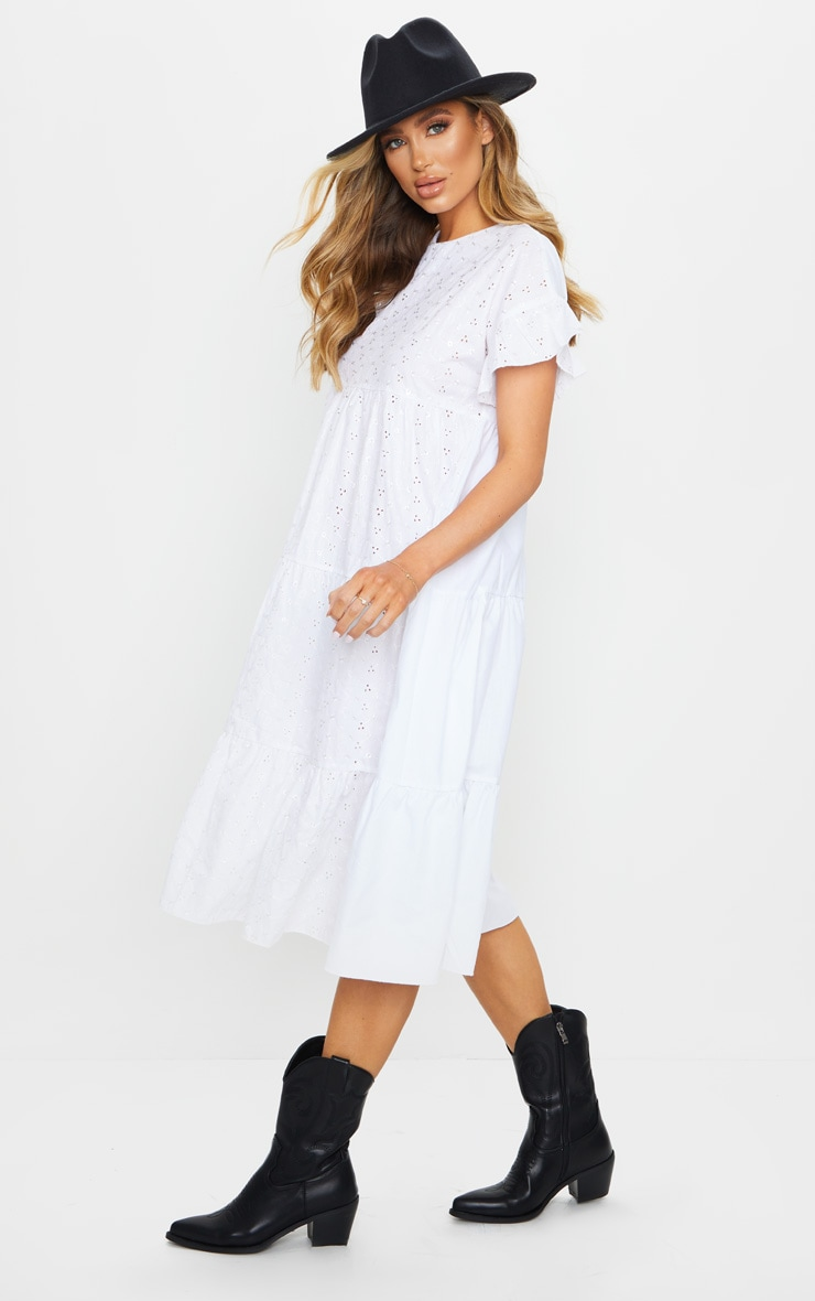White Broderie Anglaise Tiered Smock Midi Dress 3