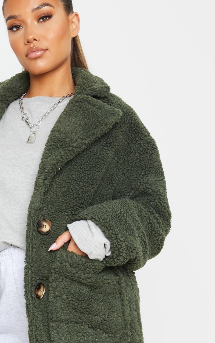 Khaki Borg Longline Coat 5