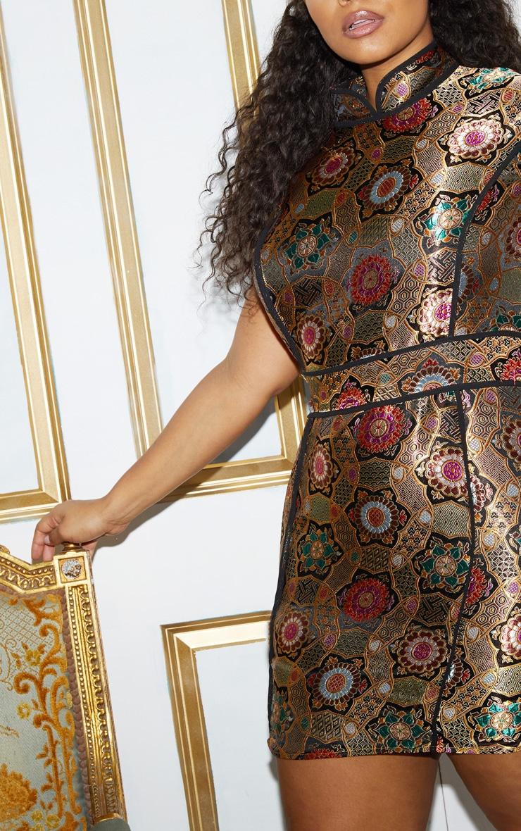 Plus Gold Oriental Jacquard High Neck Bodycon Dress 7