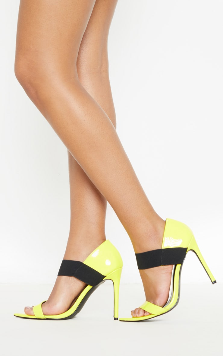 Neon Yellow Point Toe Elastic Sandal 1