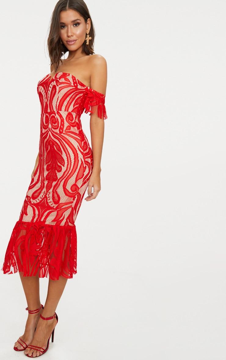 Red Bardot Lace Frill Hem Midi Dress 4