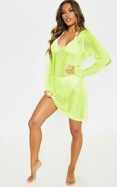 641d7d9a3e Neon Lime Crochet Distressed Open Back Dress
