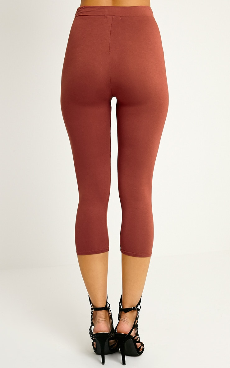 Basic Rust Cropped Jersey Leggings 3
