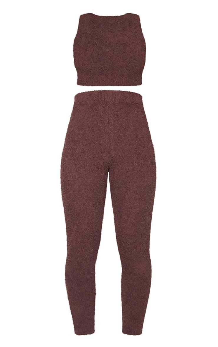 Chocolate Premium Fluffy Knitted Top And Legging Set 5