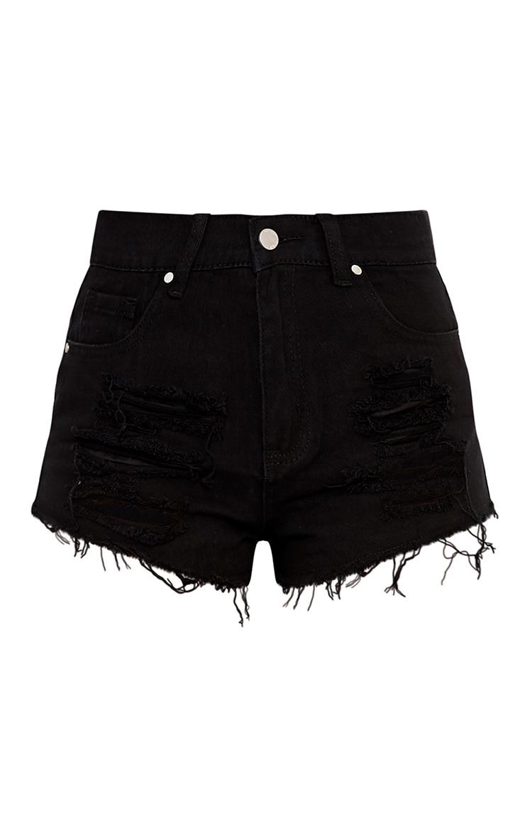 Elana Black Ripped Denim Hotpants 3