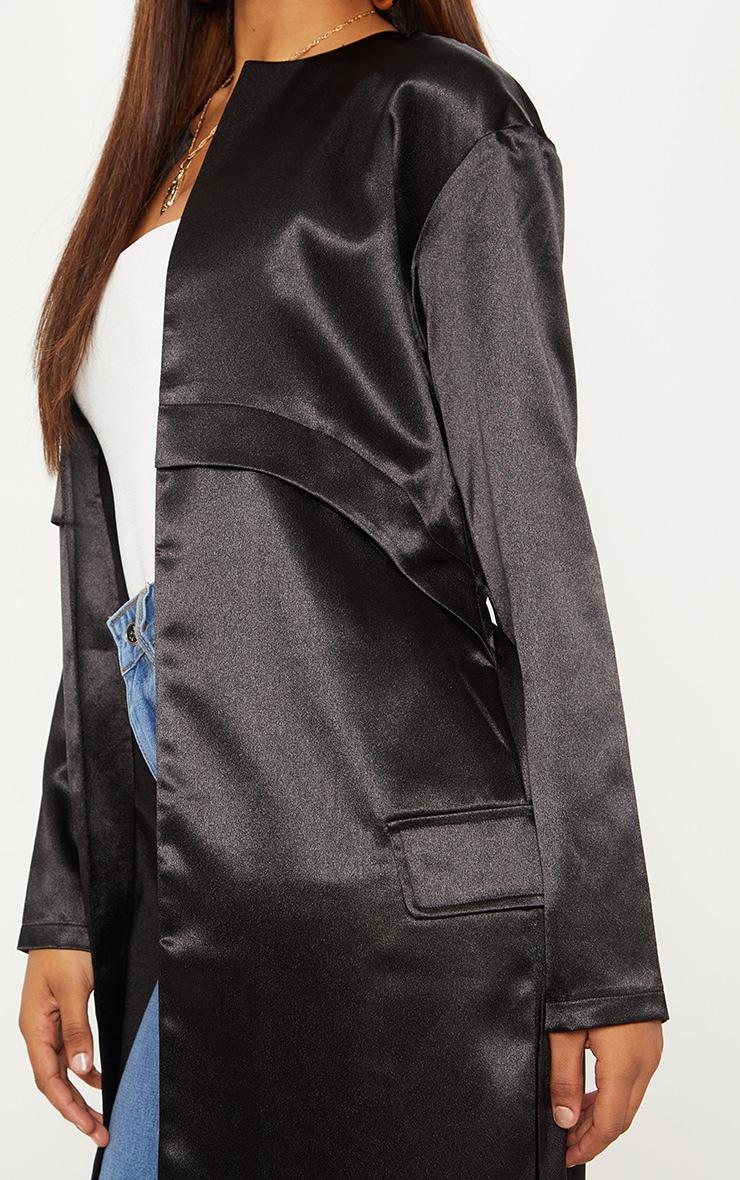 Tall Black Satin Duster Jacket 5