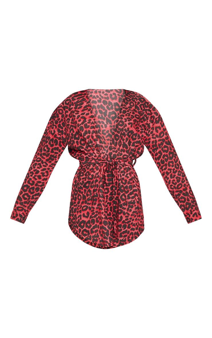 Red Leopard Tie Waist Blazer  3