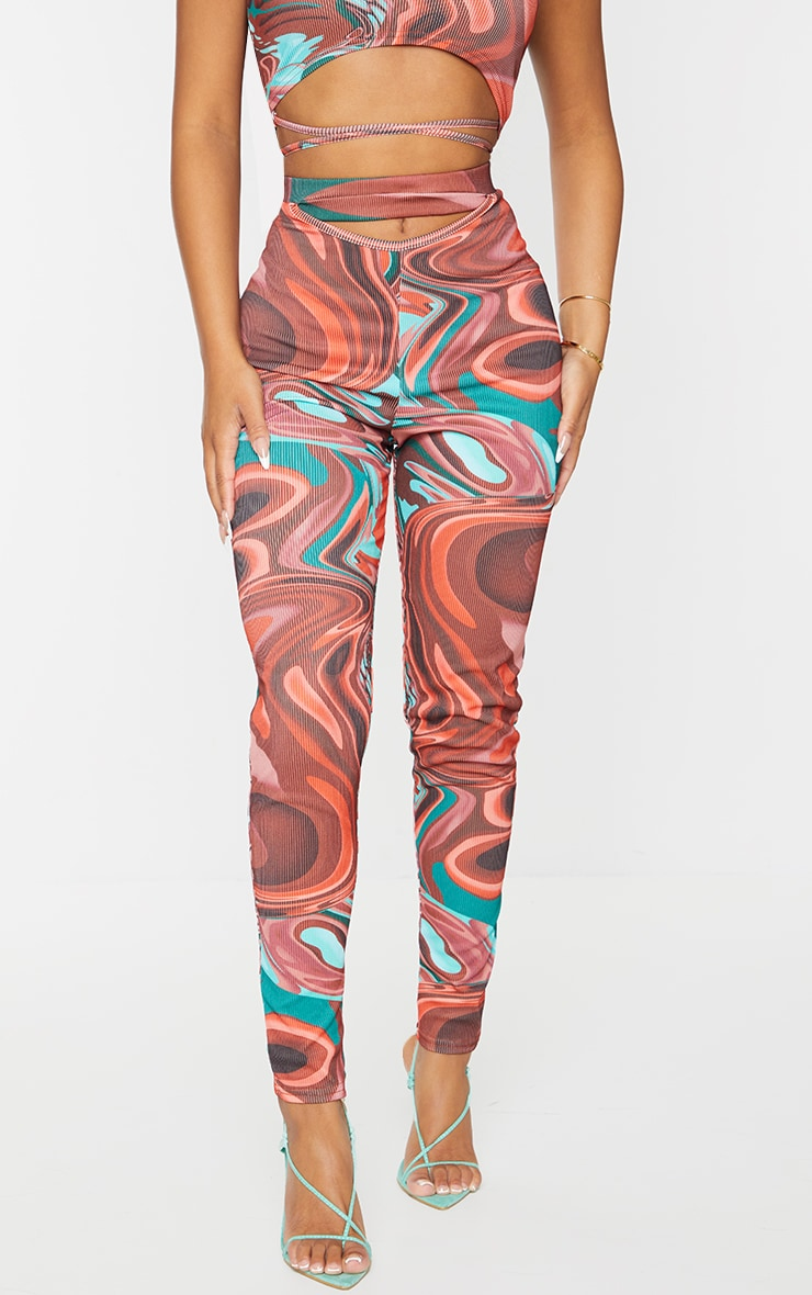 Petite Red Abstract Print Rib Cut Out Waist Leggings 2
