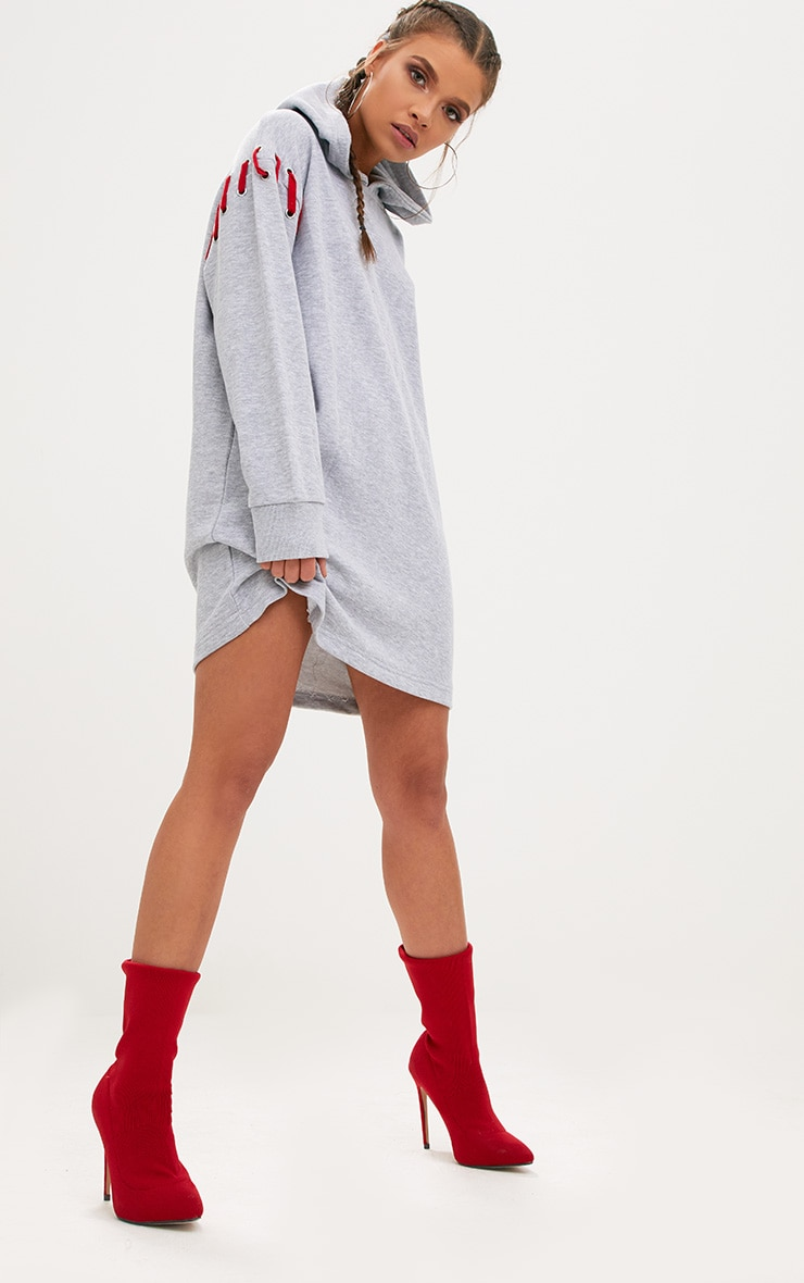 Grey Marl Loop Back Hooded Sweater Dress 1
