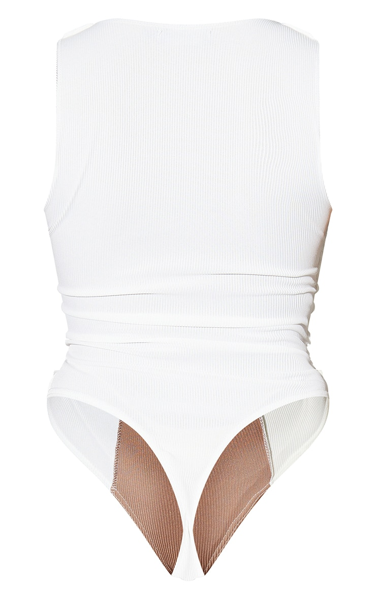 White Rib Spliced Bodysuit 6