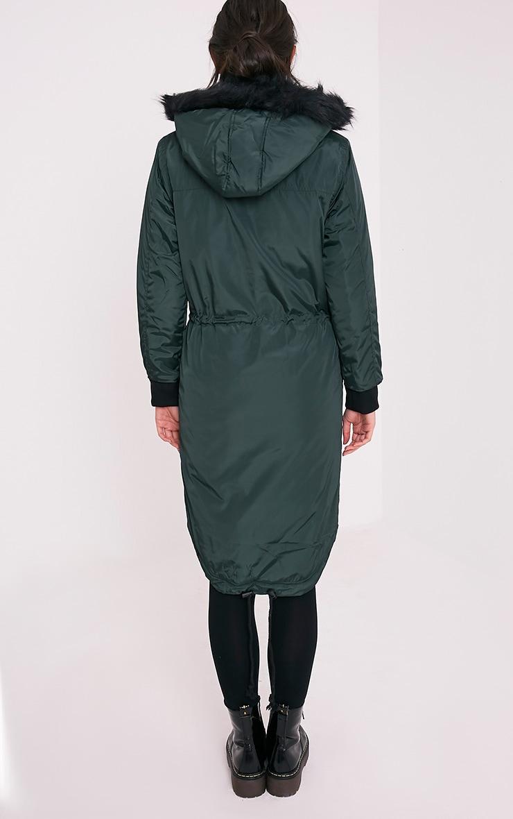 Semelle Deep Green Faux Fur Trim Longline Parka 2