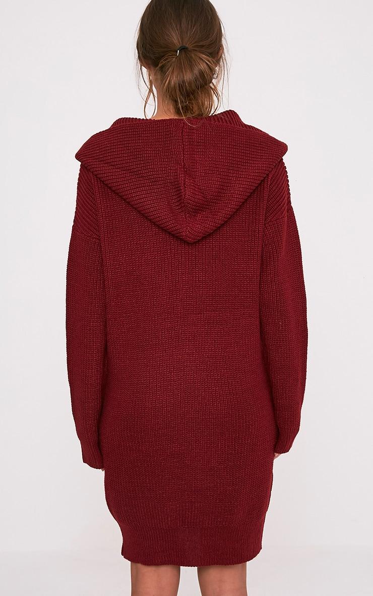 Megaen robe en maille à capuche surdimensionnée rouge foncé 2