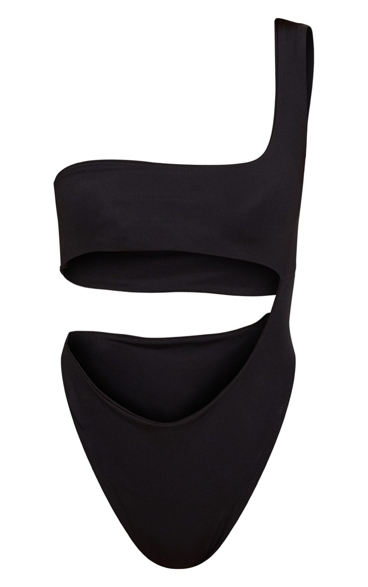 Black One Shoulder Cut Out Swimsuit 1
