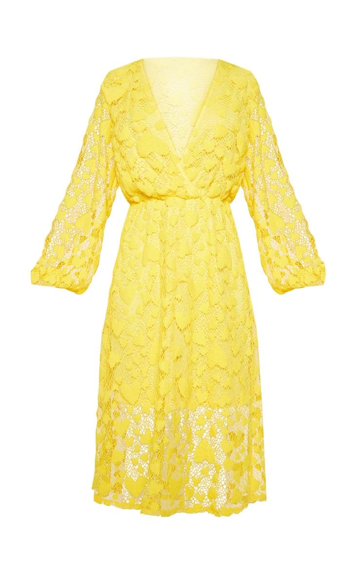 Bright Yellow Heart Pattern Net Midi Dress 3