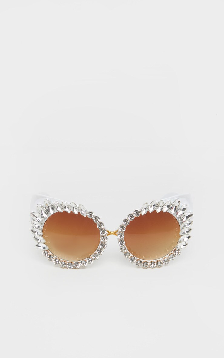 Crystal Statement Diamante Round Pointy Cat Eye Sunglasses 3